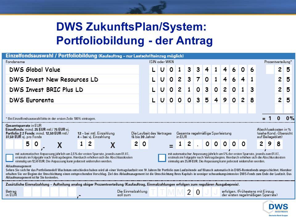 DWS ZukunftsPlan/System: Portfoliobildung - der Antrag 0289200000.212105