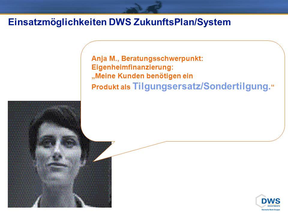 Anja M., Beratungsschwerpunkt: Eigenheimfinanzierung: Meine Kunden benötigen ein Produkt als Tilgungsersatz/Sondertilgung. Einsatzmöglichkeiten DWS Zu