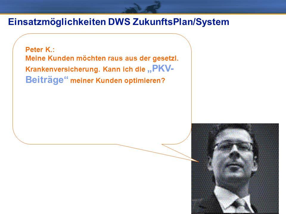 Peter K.: Meine Kunden möchten raus aus der gesetzl. Krankenversicherung. Kann ich die PKV- Beiträge meiner Kunden optimieren? Einsatzmöglichkeiten DW