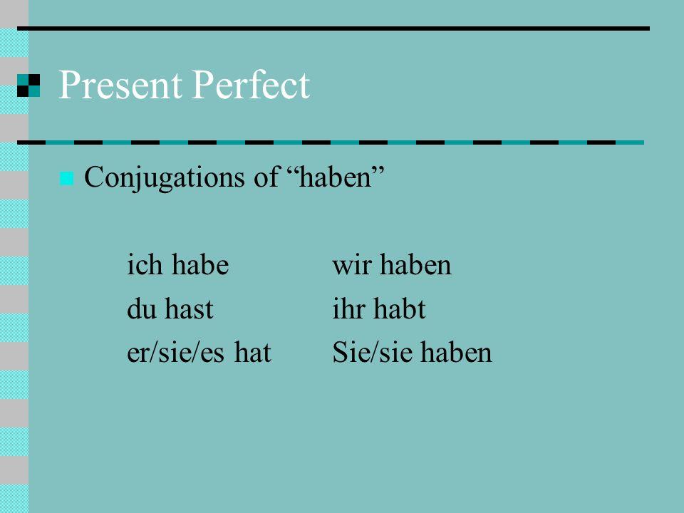 Present Perfect Conjugations of haben ich habewir haben du hastihr habt er/sie/es hatSie/sie haben