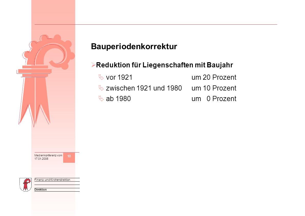 10 Direktion Finanz- und Kirchendirektion Medienkonferenz vom 17.01.2006 M Bauperiodenkorrektur Reduktion für Liegenschaften mit Baujahr vor 1921um 20