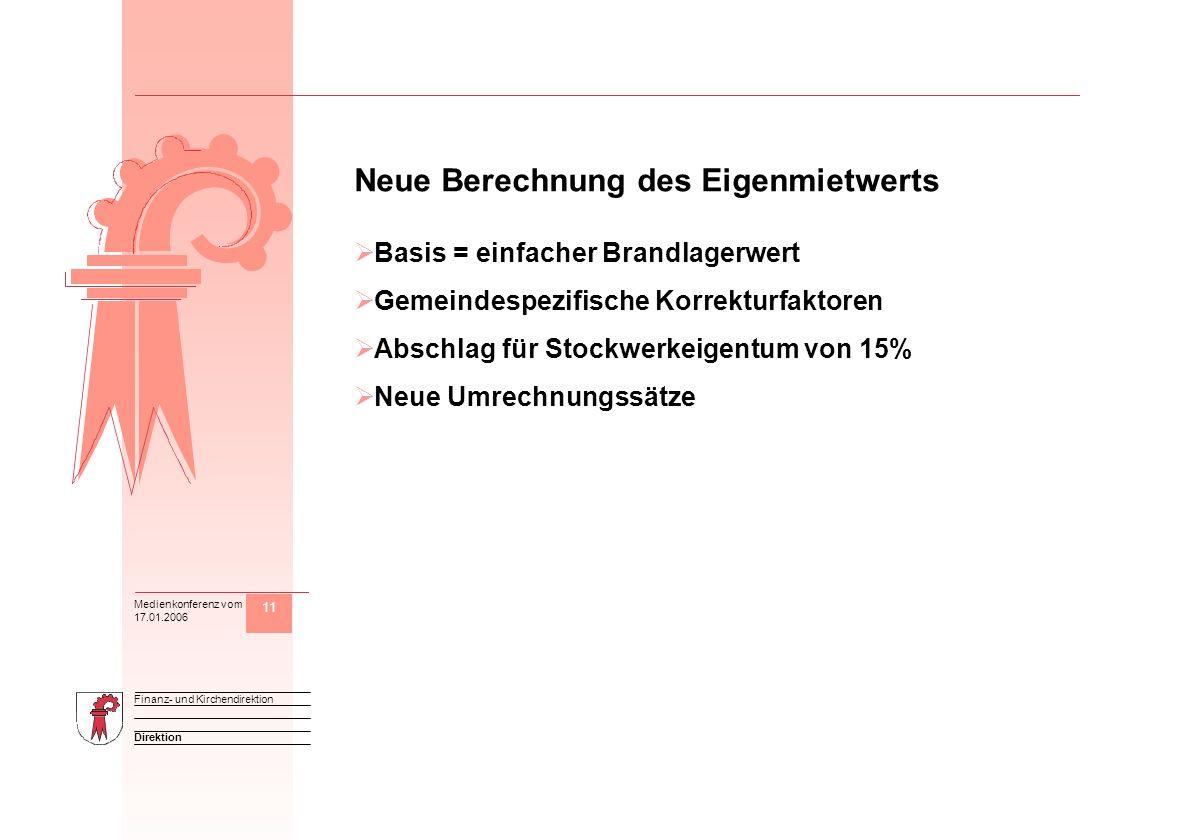 11 Direktion Finanz- und Kirchendirektion Medienkonferenz vom 17.01.2006 M Neue Berechnung des Eigenmietwerts Basis = einfacher Brandlagerwert Gemeind