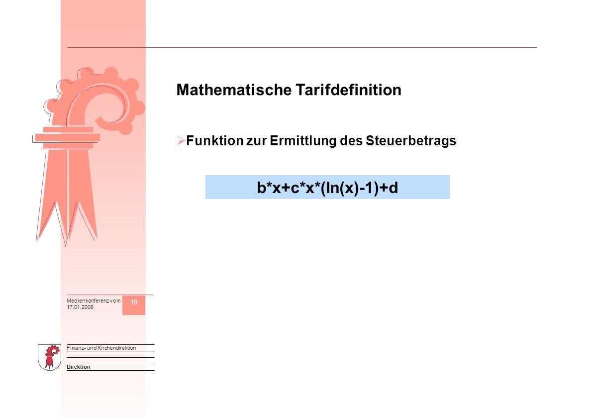 19 Direktion Finanz- und Kirchendirektion Medienkonferenz vom 17.01.2006 M Mathematische Tarifdefinition Funktion zur Ermittlung des Steuerbetrags b*x