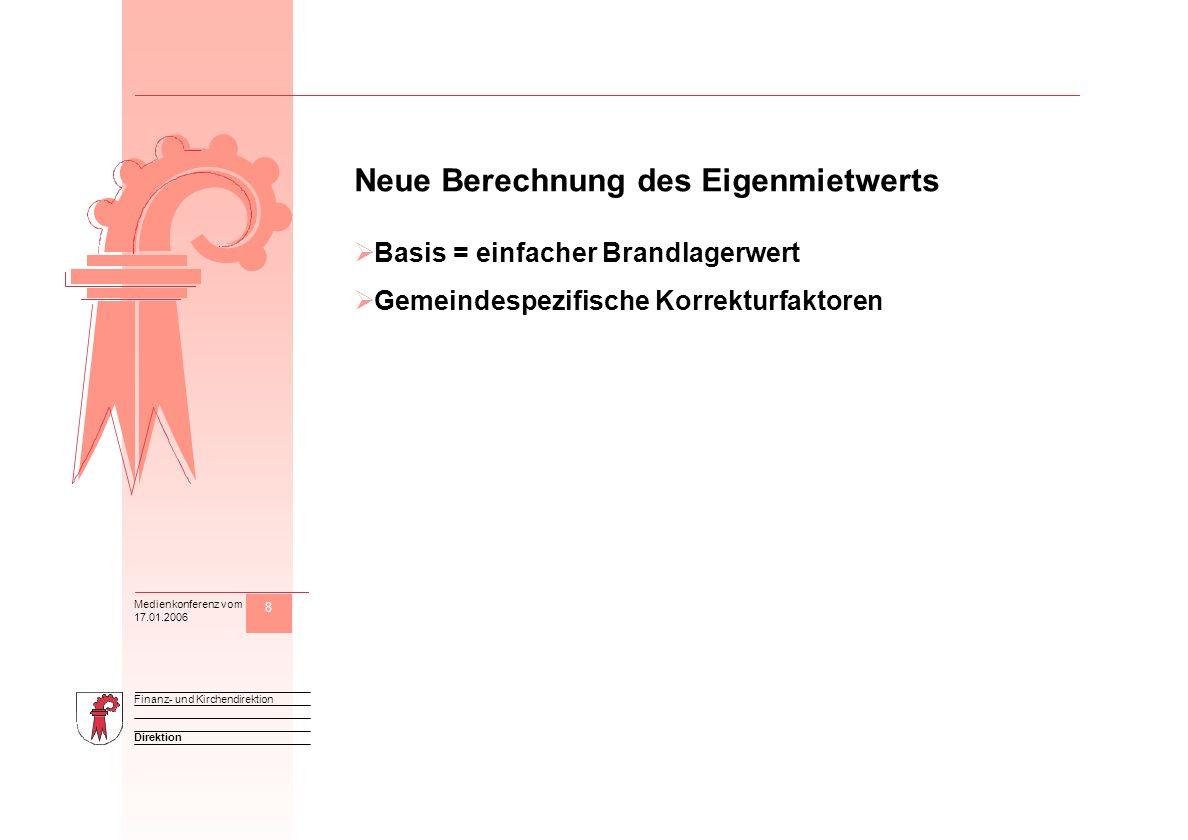 8 Direktion Finanz- und Kirchendirektion Medienkonferenz vom 17.01.2006 M Neue Berechnung des Eigenmietwerts Basis = einfacher Brandlagerwert Gemeinde