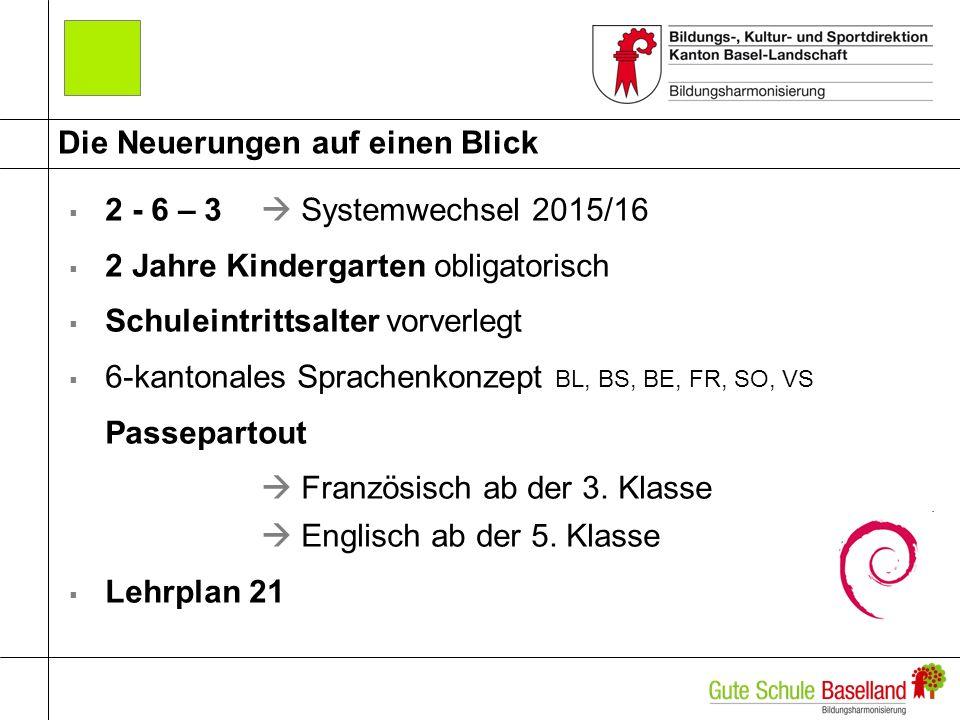 Die Neuerungen auf einen Blick 2 - 6 – 3 Systemwechsel 2015/16 2 Jahre Kindergarten obligatorisch Schuleintrittsalter vorverlegt 6-kantonales Sprachen