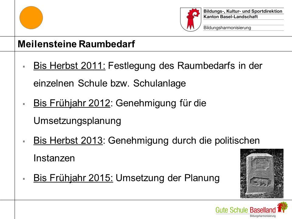Meilensteine Raumbedarf Bis Herbst 2011: Festlegung des Raumbedarfs in der einzelnen Schule bzw.