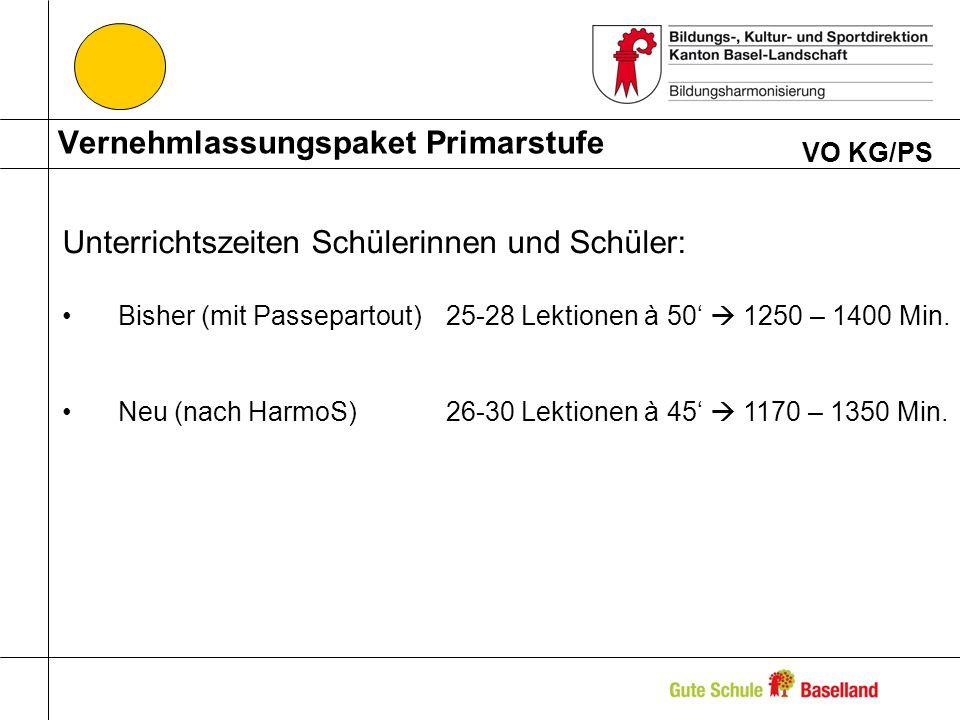 Vernehmlassungspaket Primarstufe VO KG/PS Unterrichtszeiten Schülerinnen und Schüler: Bisher (mit Passepartout)25-28 Lektionen à 50 1250 – 1400 Min. N