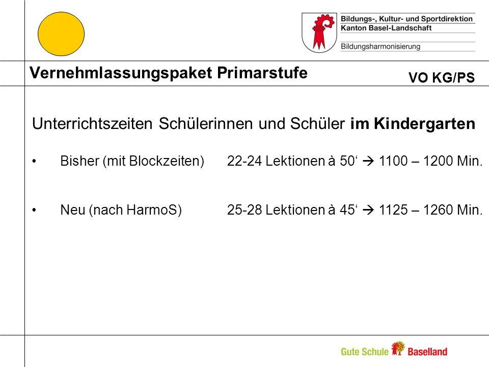 Vernehmlassungspaket Primarstufe VO KG/PS Unterrichtszeiten Schülerinnen und Schüler im Kindergarten Bisher (mit Blockzeiten)22-24 Lektionen à 50 1100 – 1200 Min.