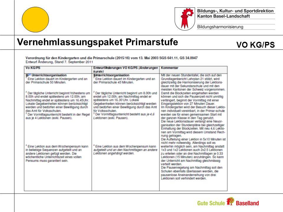 Vernehmlassungspaket Primarstufe VO KG/PS