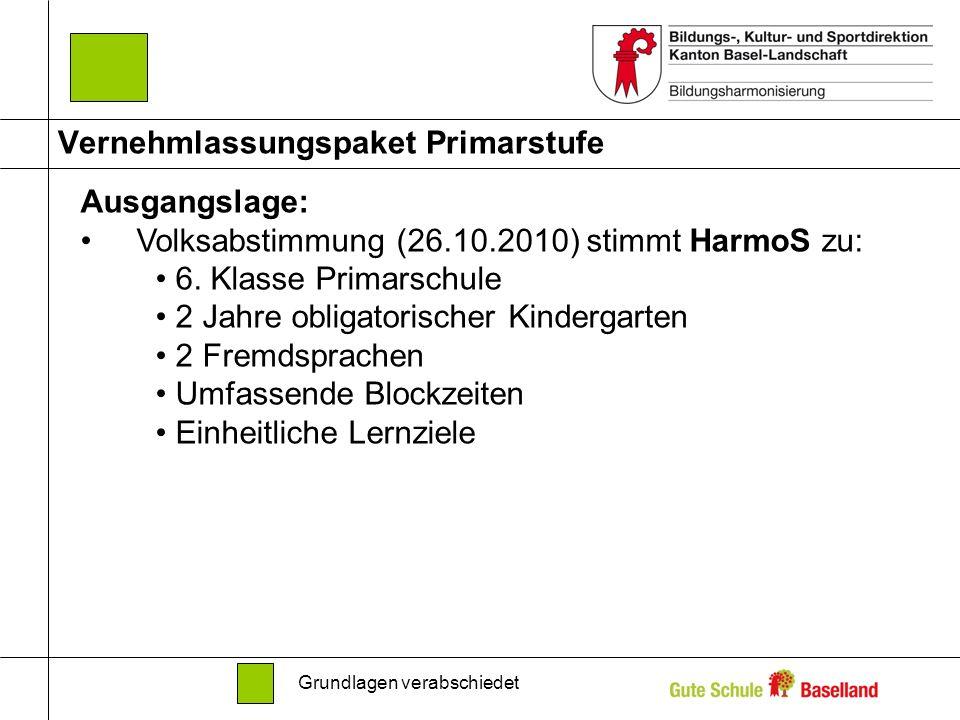 Vernehmlassungspaket Primarstufe Ausgangslage: Volksabstimmung (26.10.2010) stimmt HarmoS zu: 6. Klasse Primarschule 2 Jahre obligatorischer Kindergar