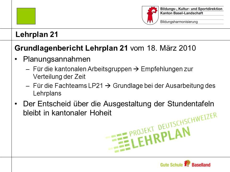 Grundlagenbericht Lehrplan 21 vom 18. März 2010 Planungsannahmen –Für die kantonalen Arbeitsgruppen Empfehlungen zur Verteilung der Zeit –Für die Fach