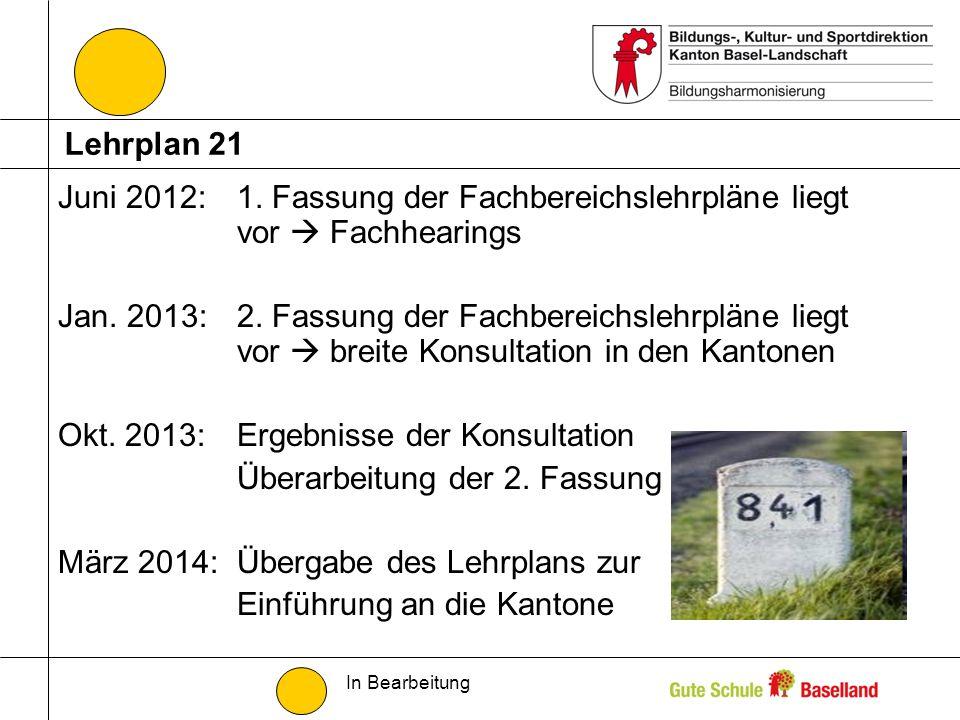 Juni 2012:1. Fassung der Fachbereichslehrpläne liegt vor Fachhearings Jan. 2013:2. Fassung der Fachbereichslehrpläne liegt vor breite Konsultation in
