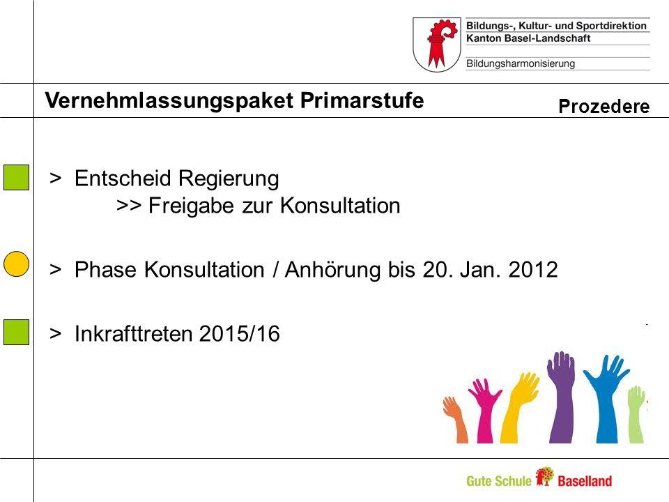 >Entscheid Regierung >> Freigabe zur Konsultation >Phase Konsultation / Anhörung bis 20. Jan. 2012 >Inkrafttreten 2015/16 Vernehmlassungspaket Primars