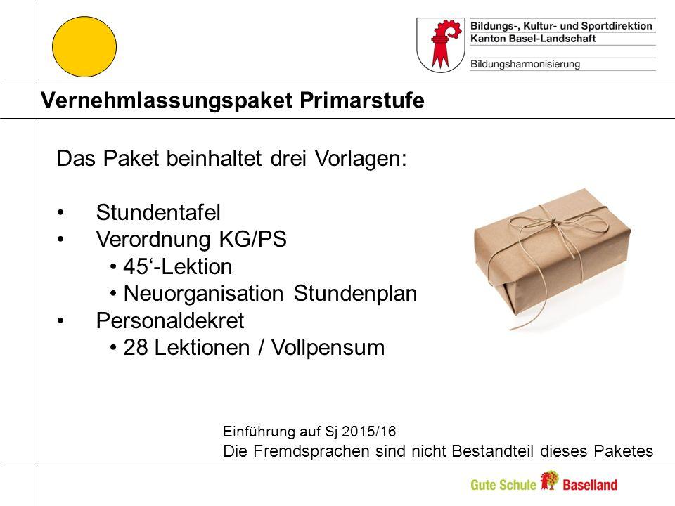 Vernehmlassungspaket Primarstufe Das Paket beinhaltet drei Vorlagen: Stundentafel Verordnung KG/PS 45-Lektion Neuorganisation Stundenplan Personaldekret 28 Lektionen / Vollpensum Einführung auf Sj 2015/16 Die Fremdsprachen sind nicht Bestandteil dieses Paketes