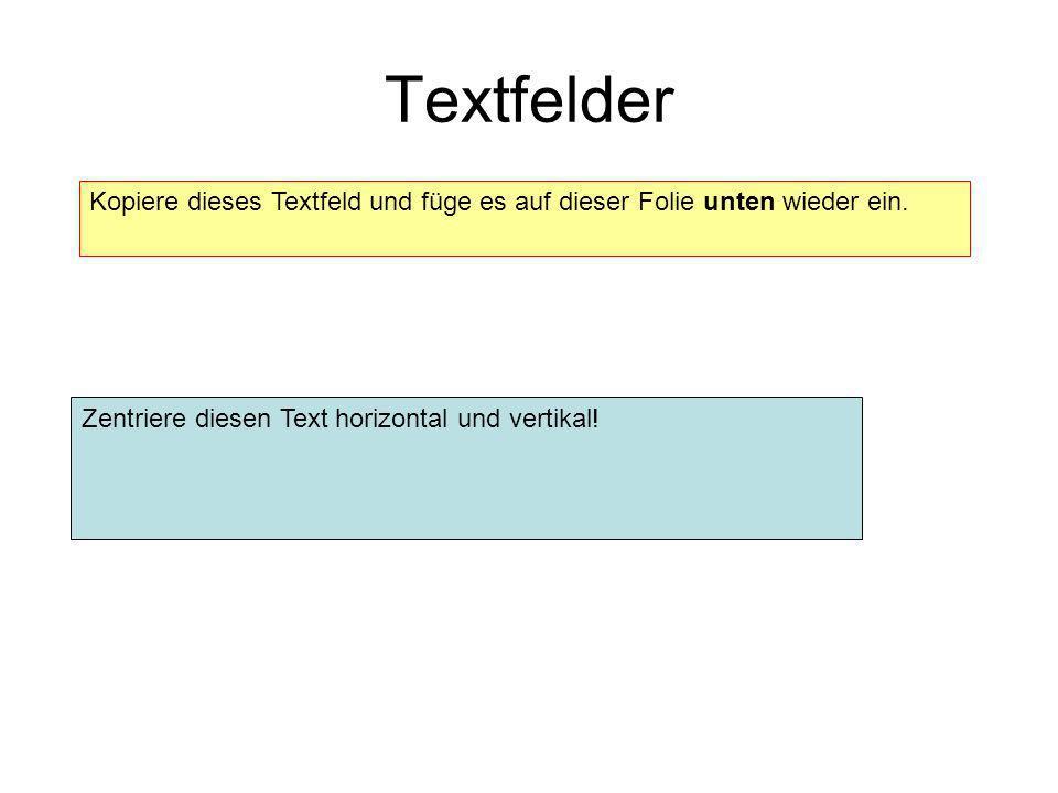 Textfelder Kopiere dieses Textfeld und füge es auf dieser Folie unten wieder ein. Zentriere diesen Text horizontal und vertikal!