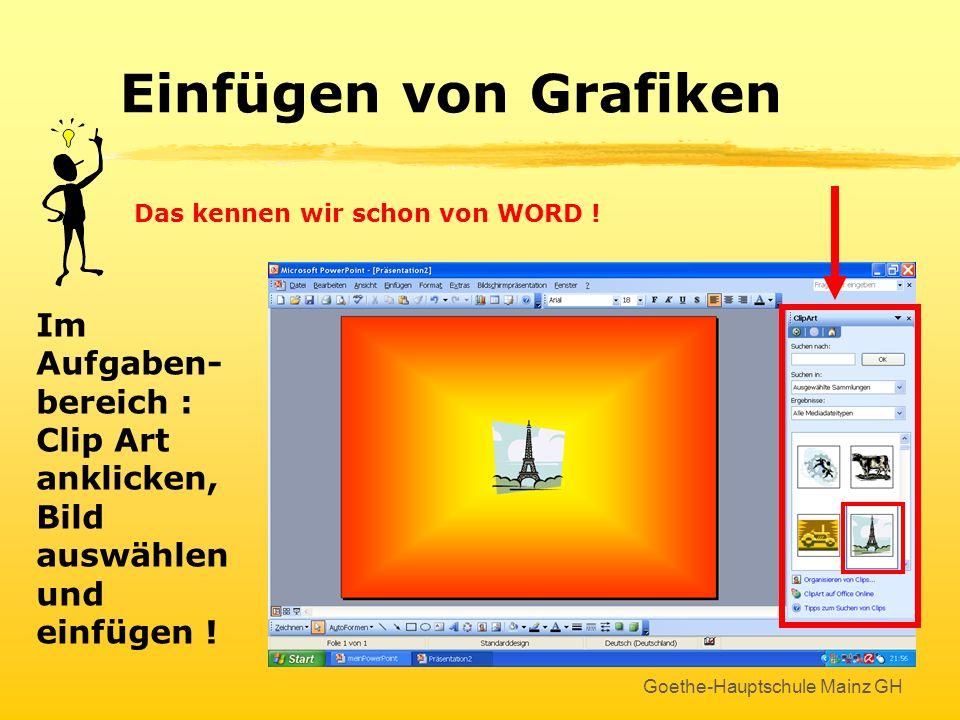 Goethe-Hauptschule Mainz GH Freie Texte Freie Texte erzeugen Textsymbol anklicken Auf der Folie mit gedrückter Maustaste Rahmen aufziehen Sofort begin