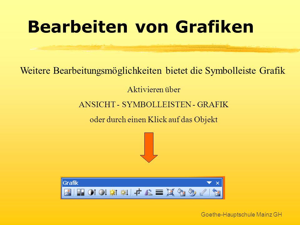 Goethe-Hauptschule Mainz GH Bearbeiten von Grafiken Um eine Grafik zu bearbeiten, das Objekt durch einen Klick markieren ! Größe verändern mit den wei