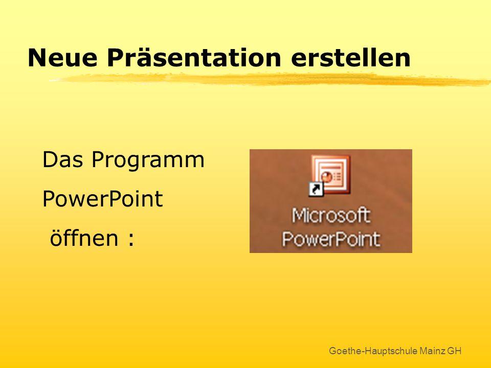 PowerPoint 2003 Erstellen und Bearbeiten einer Präsentation Goethe-Hauptschule Mainz GH