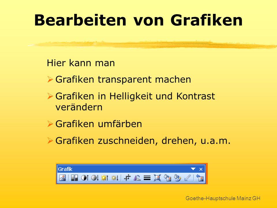 Goethe-Hauptschule Mainz GH Bearbeiten von Grafiken Weitere Bearbeitungsmöglichkeiten bietet die Symbolleiste Grafik Aktivieren über ANSICHT - SYMBOLL