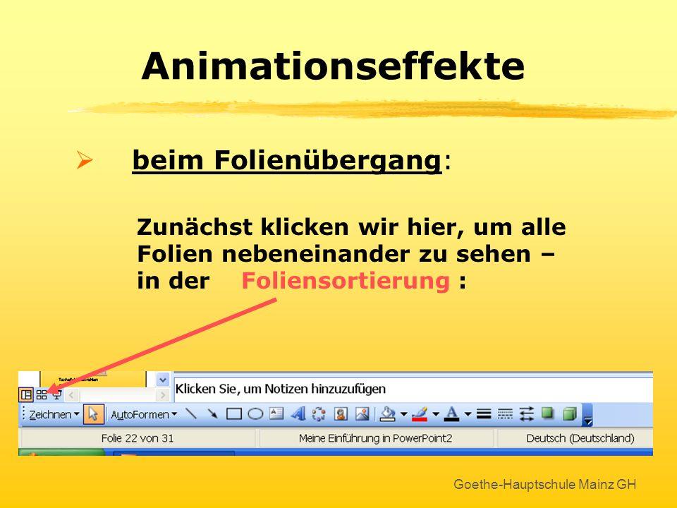 Goethe-Hauptschule Mainz GH Nächste (leere) Folie erstellen Menu Einfügen : Neue Folie anklicken