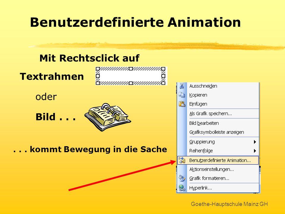 Goethe-Hauptschule Mainz GH Animationseffekte beim Folienübergang: Die entsprechende Folie mit rechts anklicken und...... im Aufgabenbereich animieren