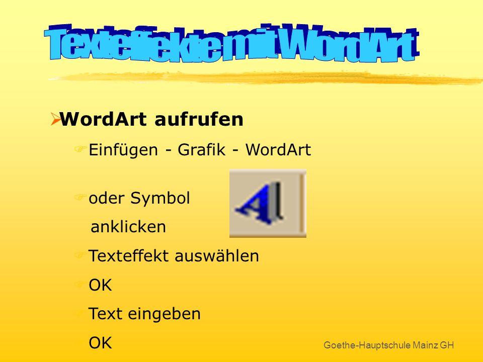 Goethe-Hauptschule Mainz GH Benutzerdefinierte Animation So geht´s ! Hier wird festgelegt, wie die Animation aussieht !... und hier der Sound ausgewäh