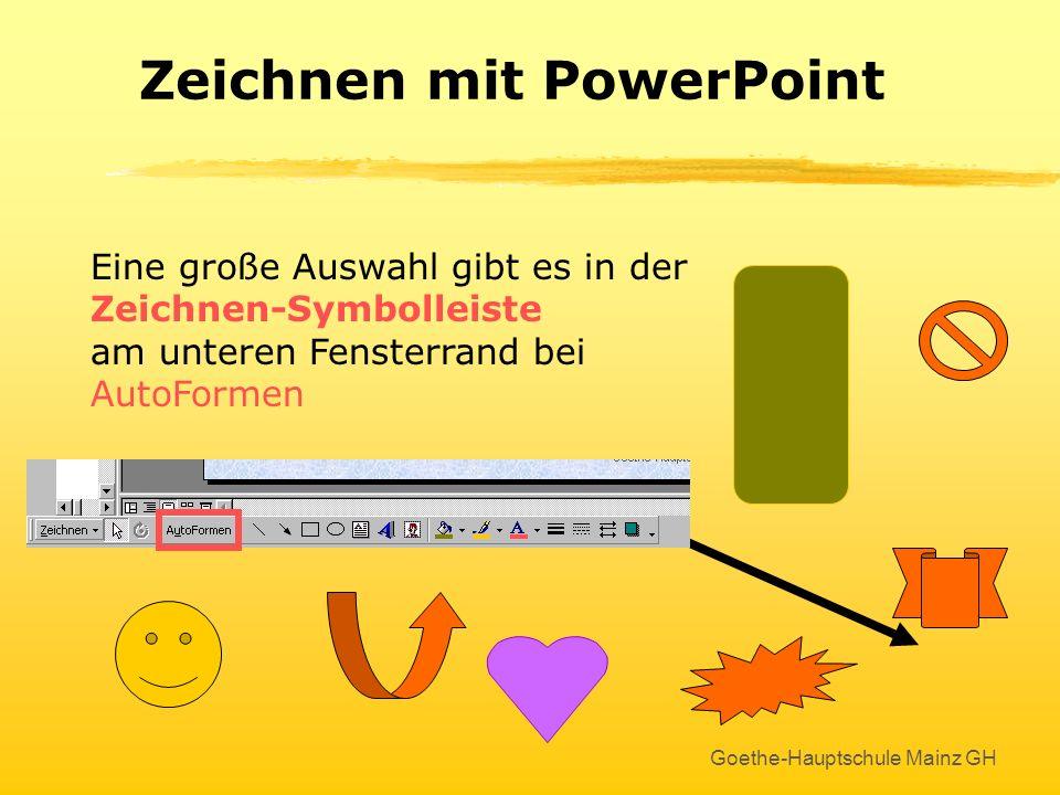 Goethe-Hauptschule Mainz GH WordArt-Objekte werden bearbeitet wie Grafiken ! Eine sehr schöne Möglichkeit ist auch das Drehen von Objekten Klick An de