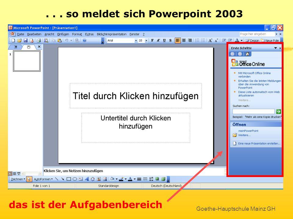 Goethe-Hauptschule Mainz GH... so meldet sich Powerpoint 2003 Keine Angst – es ist viel einfacher als es aussieht !