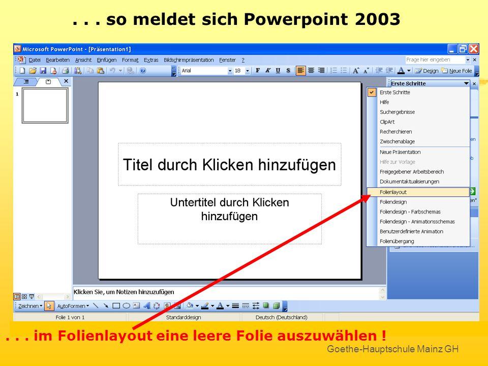 Goethe-Hauptschule Mainz GH Hier klicken, um...... so meldet sich Powerpoint 2003