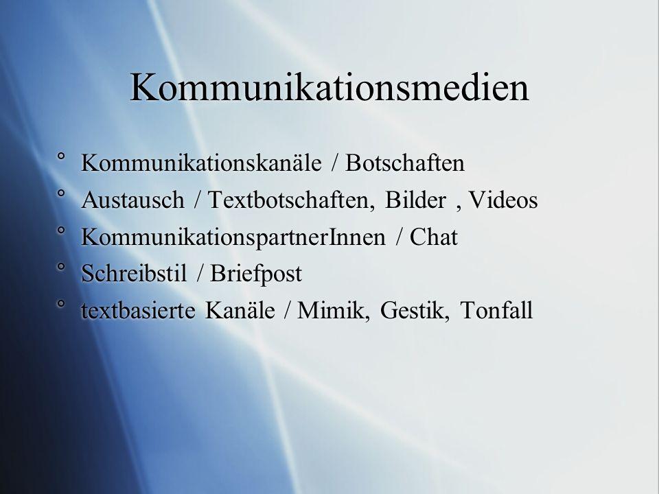 Kommunikationsmedien °Kommunikationskanäle / Botschaften °Austausch / Textbotschaften, Bilder, Videos °KommunikationspartnerInnen / Chat °Schreibstil