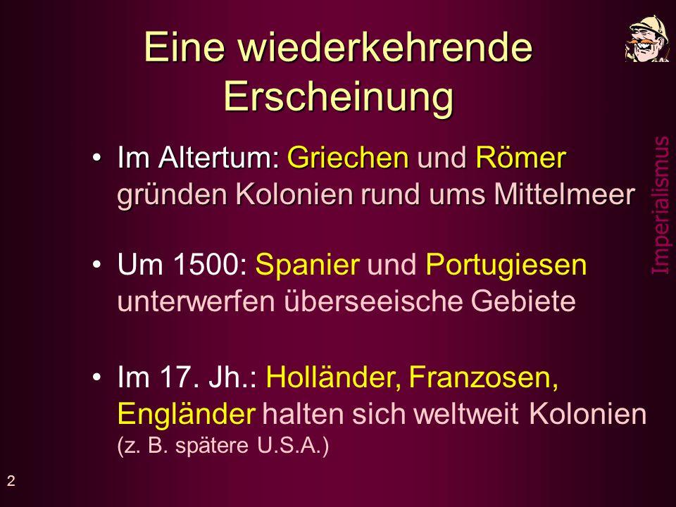 Imperialismus- Kolonialismus Imperium Kolonie = Kaiserreich = abhängiges Land 1870 - 1914