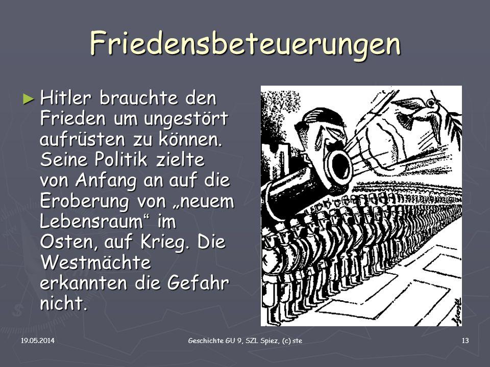 19.05.2014Geschichte GU 9, SZL Spiez, (c) ste13 Friedensbeteuerungen Hitler brauchte den Frieden um ungestört aufrüsten zu können. Seine Politik zielt