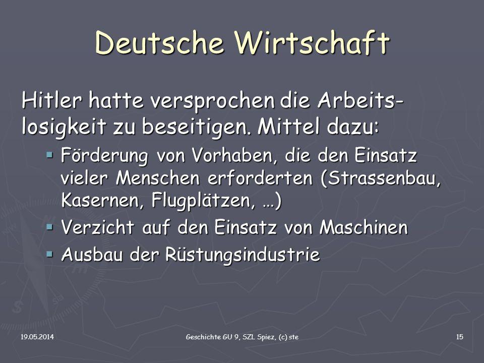 19.05.2014Geschichte GU 9, SZL Spiez, (c) ste15 Deutsche Wirtschaft Hitler hatte versprochen die Arbeits- losigkeit zu beseitigen. Mittel dazu: Förder