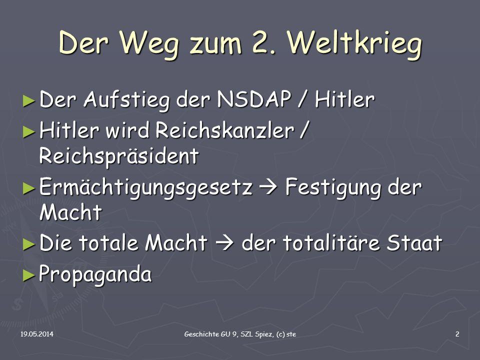 19.05.2014Geschichte GU 9, SZL Spiez, (c) ste2 Der Weg zum 2. Weltkrieg Der Aufstieg der NSDAP / Hitler Der Aufstieg der NSDAP / Hitler Hitler wird Re