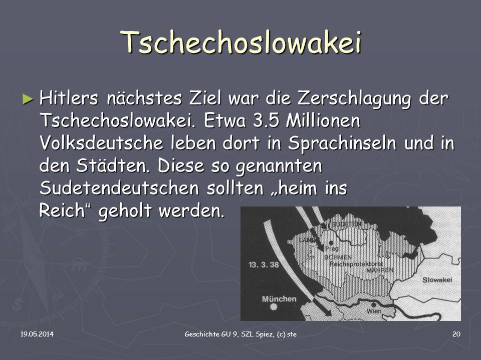 19.05.2014Geschichte GU 9, SZL Spiez, (c) ste20 Tschechoslowakei Hitlers nächstes Ziel war die Zerschlagung der Tschechoslowakei. Etwa 3.5 Millionen V