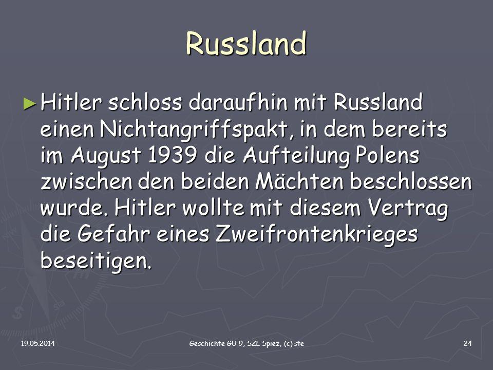 19.05.2014Geschichte GU 9, SZL Spiez, (c) ste24 Russland Hitler schloss daraufhin mit Russland einen Nichtangriffspakt, in dem bereits im August 1939