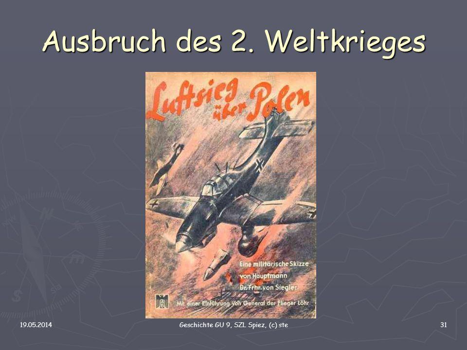 19.05.2014Geschichte GU 9, SZL Spiez, (c) ste31 Ausbruch des 2. Weltkrieges