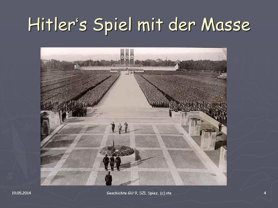 19.05.2014Geschichte GU 9, SZL Spiez, (c) ste4 Hitler s Spiel mit der Masse