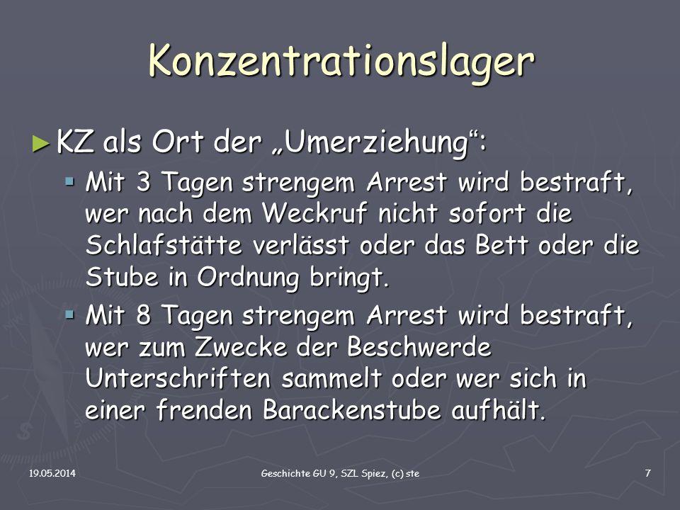 19.05.2014Geschichte GU 9, SZL Spiez, (c) ste7 Konzentrationslager KZ als Ort der Umerziehung : KZ als Ort der Umerziehung : Mit 3 Tagen strengem Arre