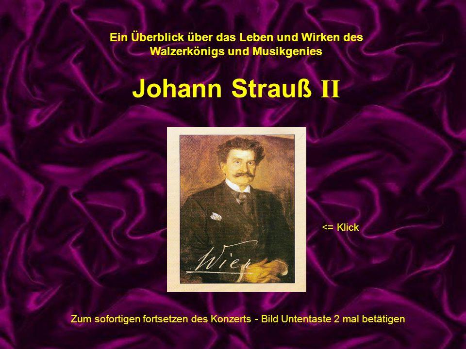 Pause Ein Überblick über das Leben und Wirken des Walzerkönigs und Musikgenies Johann Strauß II <= Klick Zum sofortigen fortsetzen des Konzerts - Bild
