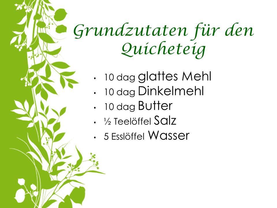 Grundzutaten für den Quicheteig 10 dag glattes Mehl 10 dag Dinkelmehl 10 dag Butter ½ Teelöffel Salz 5 Esslöffel Wasser