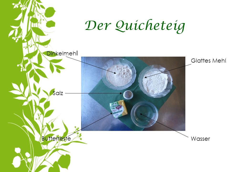 Der Quicheteig Dinkelmeh l Glattes Mehl Salz Butterreste Wasser