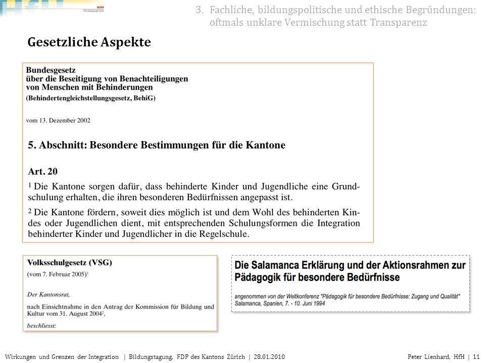 Peter Lienhard, HfH | 11Wirkungen und Grenzen der Integration | Bildungstagung, FDP des Kantons Zürich | 28.01.2010 Gesetzliche Aspekte 3.Fachliche, b