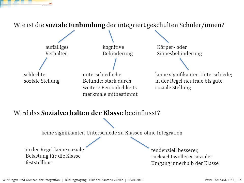 Peter Lienhard, HfH | 16Wirkungen und Grenzen der Integration | Bildungstagung, FDP des Kantons Zürich | 28.01.2010 auffälliges Verhalten kognitive Be
