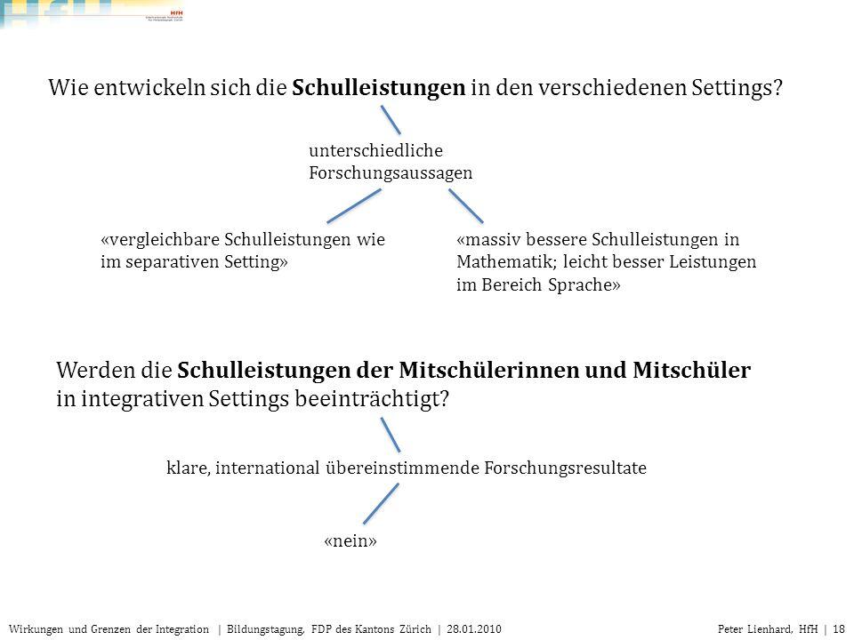 Peter Lienhard, HfH | 18Wirkungen und Grenzen der Integration | Bildungstagung, FDP des Kantons Zürich | 28.01.2010 Wie entwickeln sich die Schulleist
