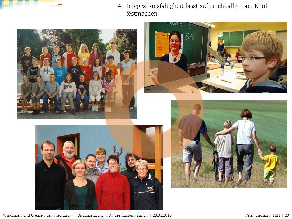 Peter Lienhard, HfH | 20Wirkungen und Grenzen der Integration | Bildungstagung, FDP des Kantons Zürich | 28.01.2010 4.Integrationsfähigkeit lässt sich