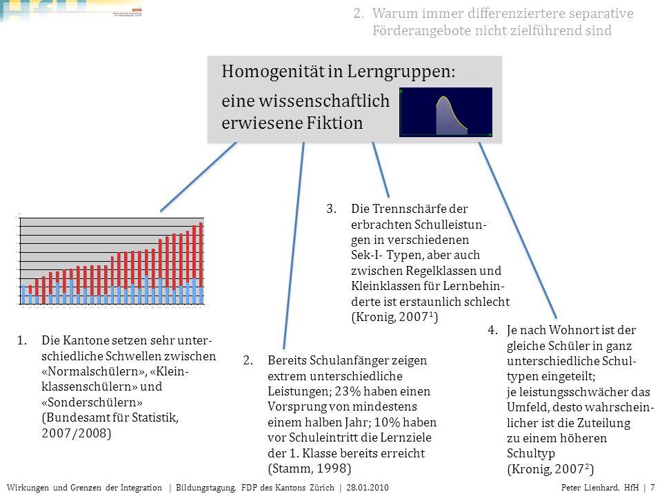 Peter Lienhard, HfH | 18Wirkungen und Grenzen der Integration | Bildungstagung, FDP des Kantons Zürich | 28.01.2010 Wie entwickeln sich die Schulleistungen in den verschiedenen Settings.