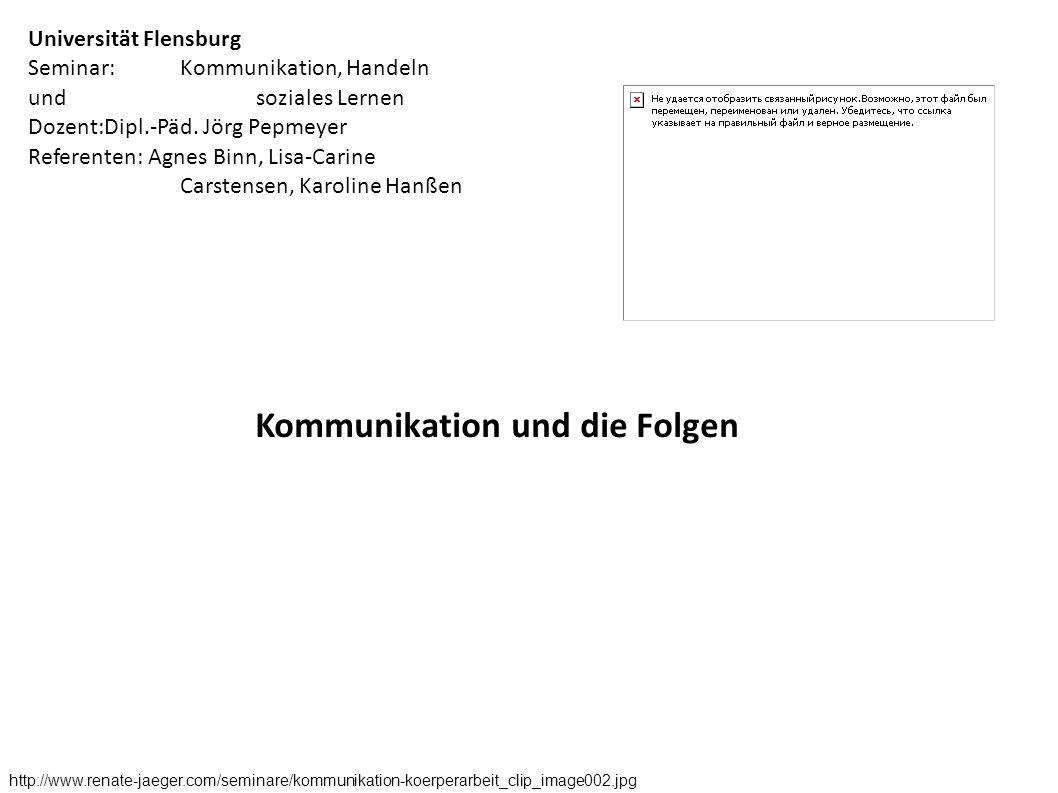 Kommunikation und die Folgen http://www.renate-jaeger.com/seminare/kommunikation-koerperarbeit_clip_image002.jpg Universität Flensburg Seminar:Kommuni