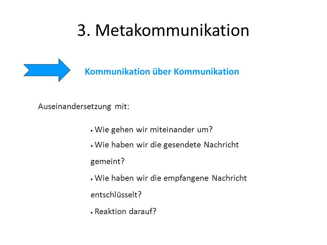 3. Metakommunikation Kommunikation über Kommunikation Auseinandersetzung mit: Wie gehen wir miteinander um? Wie haben wir die gesendete Nachricht geme
