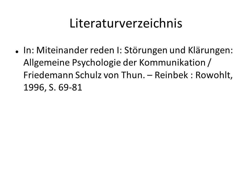 Literaturverzeichnis In: Miteinander reden I: Störungen und Klärungen: Allgemeine Psychologie der Kommunikation / Friedemann Schulz von Thun. – Reinbe